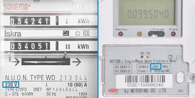 1-fase | Als je een 1-fase groepenkast in je meterkast hebt, staat er 220/230V op de elektriciteitsmeter.